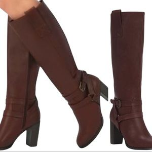 JUSTFAB Nottingham Tall Heeled Boots Brown Size 9